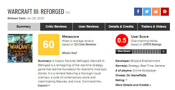 Warcraft III - Reforged - Credito: metacritic.com