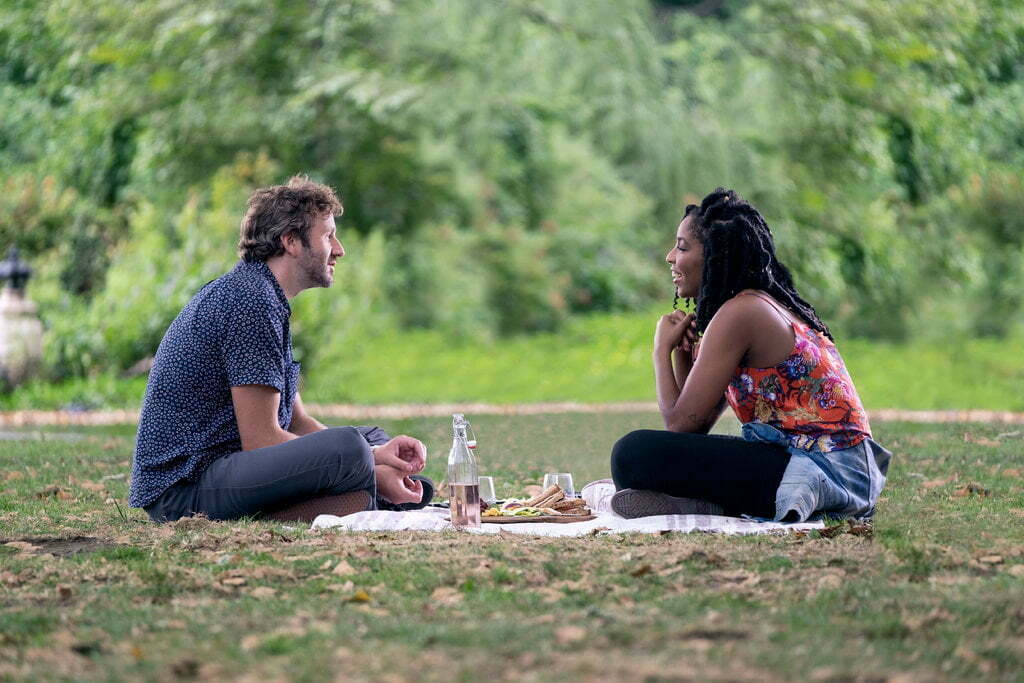 """Chris O'Dowd and Jessica Williams in """"The Incredible Jessica James.""""Credit...Netflix"""