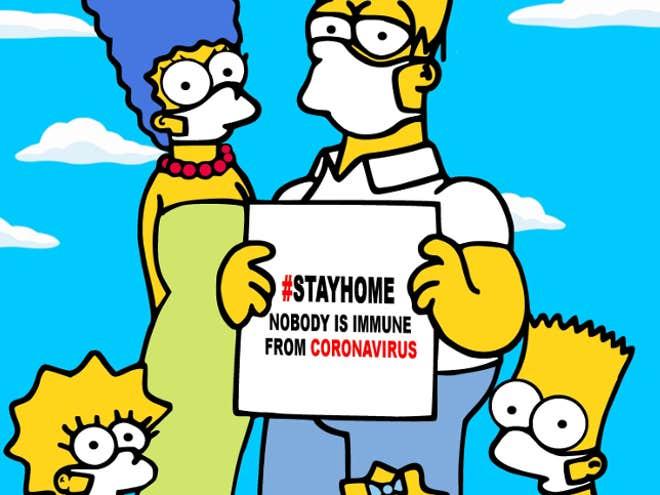 A icônica família dos desenhos animados é desenhada alertando as pessoas sobre os perigos do coronavírus na nova campanha promocional